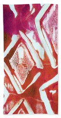 Orchid Diamonds- Abstract Painting Hand Towel by Linda Woods
