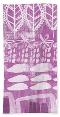 Orchid Fields Hand Towel by Linda Woods