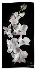 Orchid Flowers On Black Hand Towel