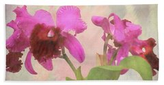 Orchid In Hot Pink Bath Towel by Rosalie Scanlon