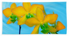 Orchid In Yellow Hand Towel