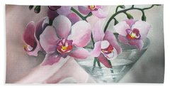 Hand Towel featuring the painting Orchids by Vesna Martinjak
