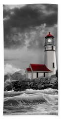 Oregon Lighthouse Cape Blanco In Black White And Red Hand Towel