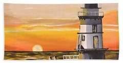 Bath Towel featuring the painting Orient Point Lighthouse by Donna Blossom
