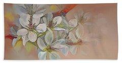 Oriental Pear Blossom Branch Bath Towel