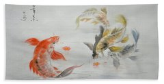 Original Animal  Oil Painting Art- Goldfish Bath Towel