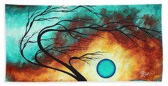 Original Bold Colorful Abstract Landscape Painting Family Joy I By Madart Hand Towel