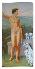 Original Classic Oil Painting Man Body Art-male Nude And Dogs #16-2-4-11 Bath Towel by Hongtao     Huang