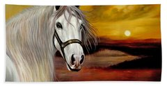 Original Oil Painting Animal Art-horse In Sunset #015 Hand Towel by Hongtao     Huang