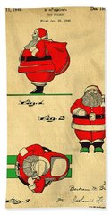 Original Patent For Santa On Skis Figure Hand Towel by Edward Fielding