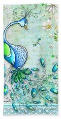 Original Peacock Painting Bird Art By Megan Duncanson Hand Towel