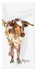 Original Longhorn Standing Earth Quack Watercolor Painting By Kmcelwaine Bath Towel by Kathleen McElwaine