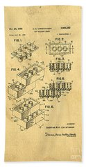 Bath Towel featuring the digital art Original Us Patent For Lego by Edward Fielding