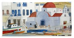 Watercolor - Mykonos Greece Detail Hand Towel