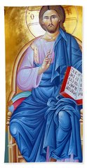 Orthodox Icon Of Jesus In Blue Hand Towel