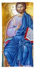 Orthodox Icon Of Jesus In Blue Bath Towel by Munir Alawi