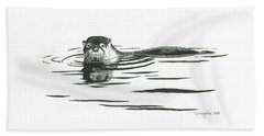 Otter In The Water Bath Towel