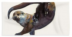 Otter Study II  Hand Towel by Mark Adlington