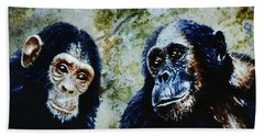 Bath Towel featuring the painting Our Closest Relatives by Hartmut Jager
