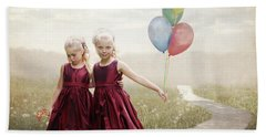 Our Hearts Say We're Friends Hand Towel by Linda Lees