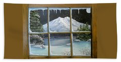 Out My Window-bright Winter's Night Bath Towel by Sheri Keith