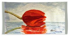 Hand Towel featuring the painting Out To Sea by Angela Davies