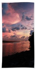Out With A Roar Sunset Over Water Tarpon Springs Florida Hand Towel