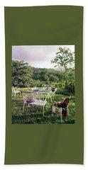 Outdoor Furniture By Lloyd On Grassy Hillside Bath Towel