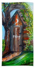Hand Towel featuring the painting Outhouse - Privy - The Old Out House by Eloise Schneider