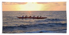 Outrigger Canoe At Sunset In Kailua Kona Bath Towel