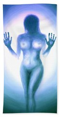 Bath Towel featuring the photograph Outsider Series - Trapped Behind The Glass - In Blue by Lilia D