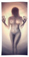 Bath Towel featuring the photograph Outsider Series - Trapped Behind The Glass - In Sepia by Lilia D