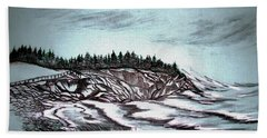 Bath Towel featuring the drawing Oven's Park Nova Scotia by Janice Rae Pariza