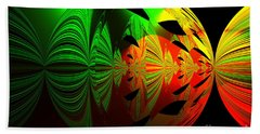 Art. Unigue Design.  Abstract Green Red And Black Bath Towel