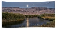 Owens River Moonrise Hand Towel
