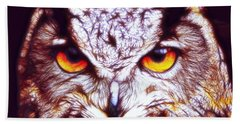 Hand Towel featuring the digital art Owl - Fractal by Lilia D