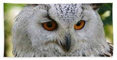 Hand Towel featuring the photograph Owl Bird Animal Eagle Owl by Paul Fearn