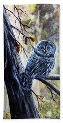 Owl Hand Towel by Bozena Zajaczkowska