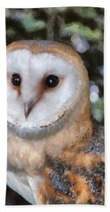 Bath Towel featuring the digital art Owl - Bright Eyes 2 by Paul Gulliver
