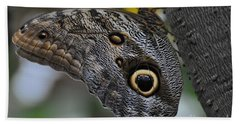 Bath Towel featuring the photograph Owl Butterfly by Bianca Nadeau