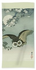 Owl - Moon - Cherry Blossoms Hand Towel