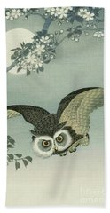 Owl - Moon - Cherry Blossoms Bath Towel