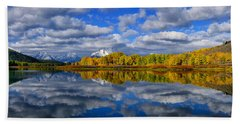 Oxbow Bend Peak Autumn Panorama Bath Towel