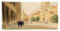 Bath Towel featuring the painting Oxford High Street by Bill Holkham