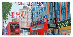 Bath Towel featuring the painting Oxford Street- Queen's Diamond Jubilee  by Magdalena Frohnsdorff