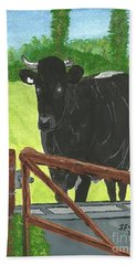 Bath Towel featuring the painting Oxleaze Bull by John Williams