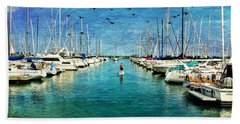 Paddle Boarder  In The Harbor Hand Towel