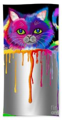 Paint Can Cat Hand Towel