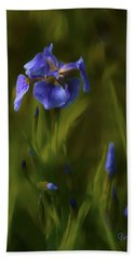 Painted Alaskan Wild Irises Bath Towel