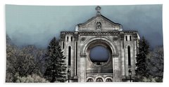 Hand Towel featuring the digital art Painted Basilica 2 by Teresa Zieba